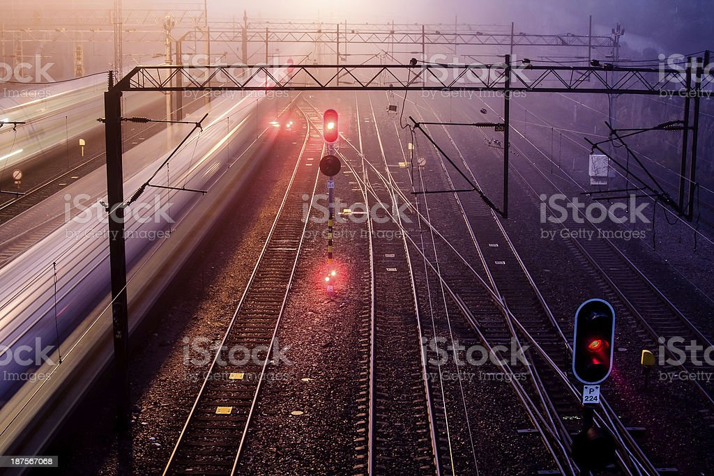 Trains with motion blur stock photo