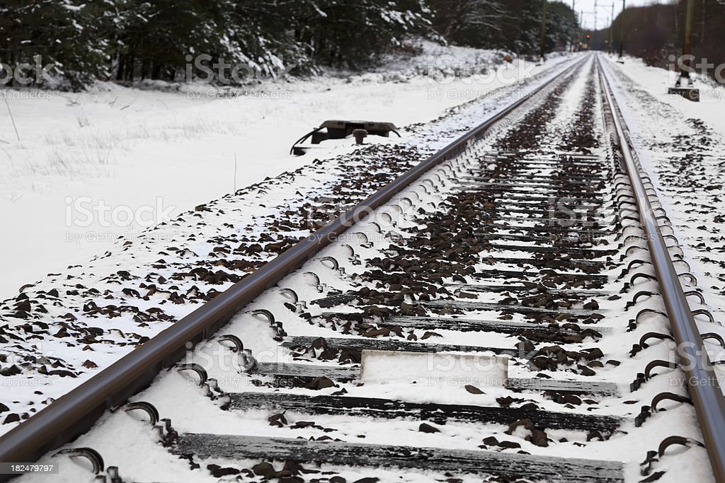 Traintracks covered in snow (XXL) stock photo