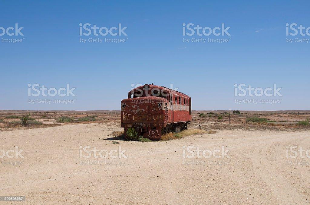 Trainwreck in the desert stock photo