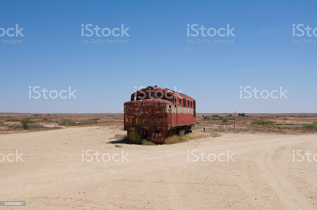 Trainwreck in the desert stock photo