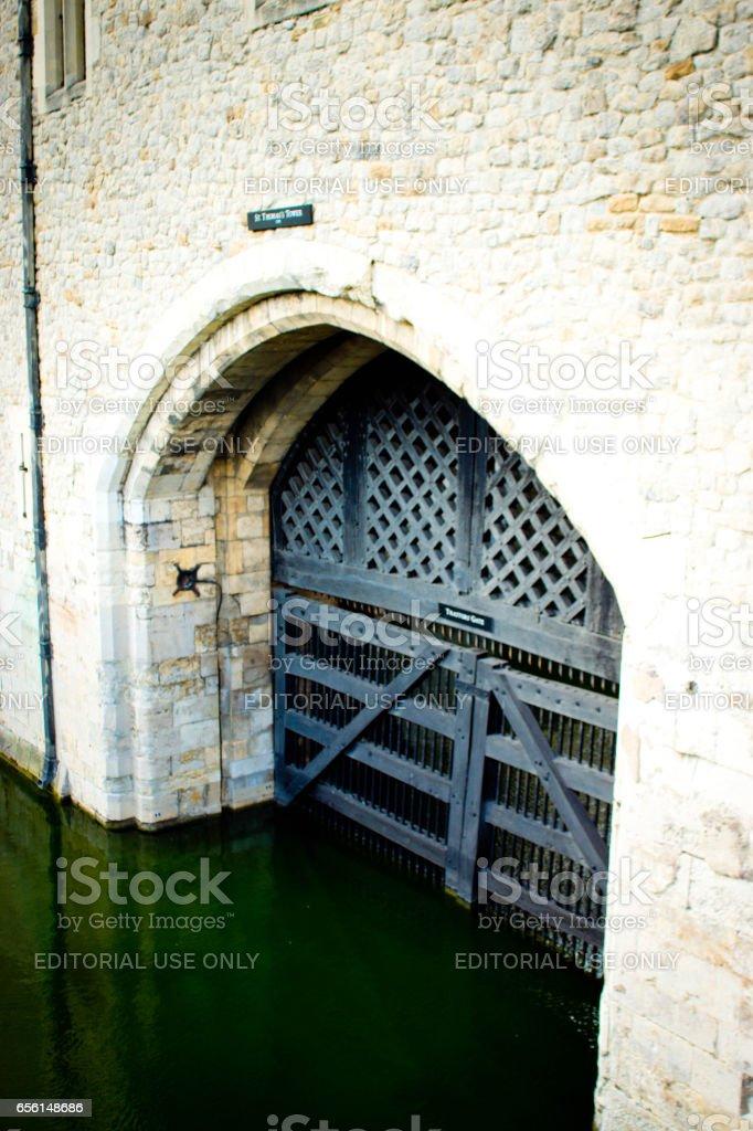 Traitors Gate in London stock photo