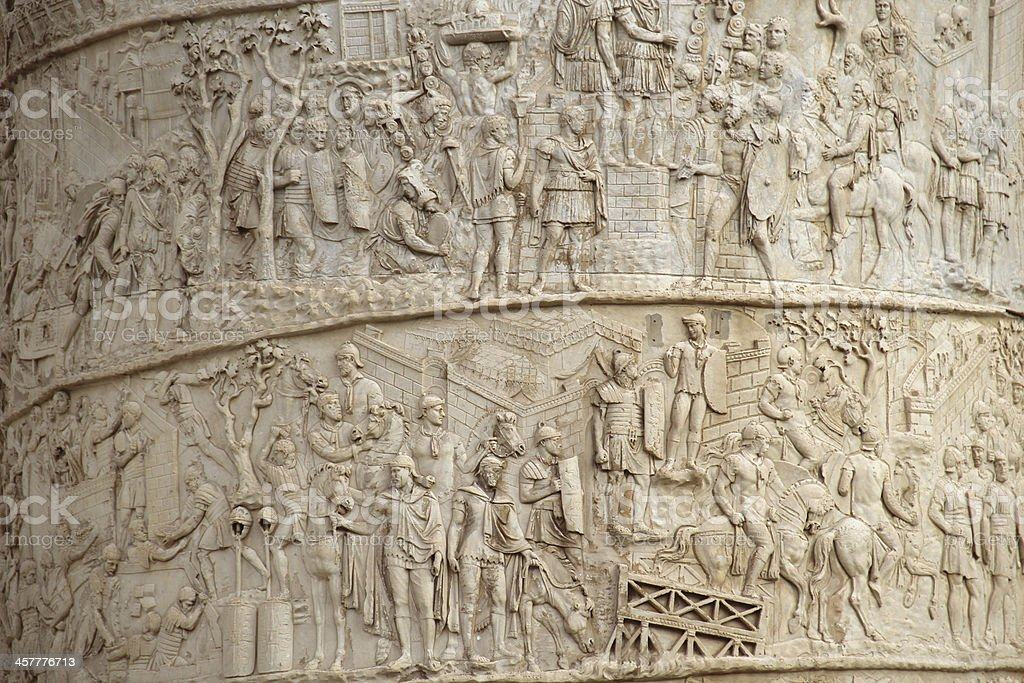Trajan column close-up, Rome, Italy stock photo