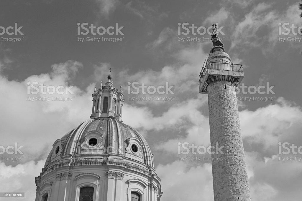 Trajan's Column and Santa Maria di Loreto church, Rome, Italy. stock photo