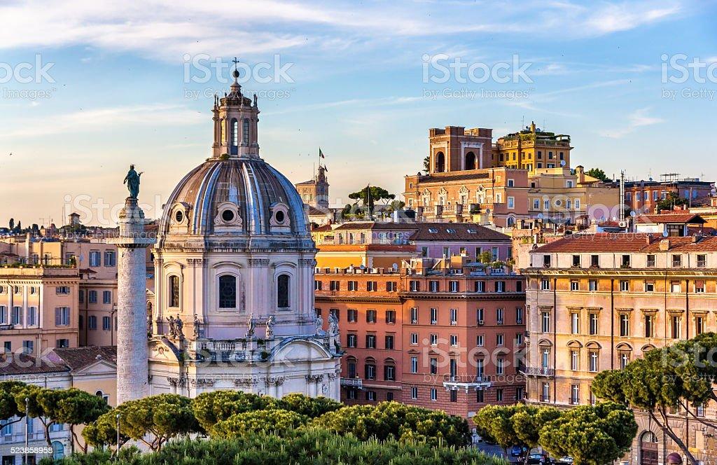 Trajan's Column and Santissimo Nome di Maria al Foro stock photo