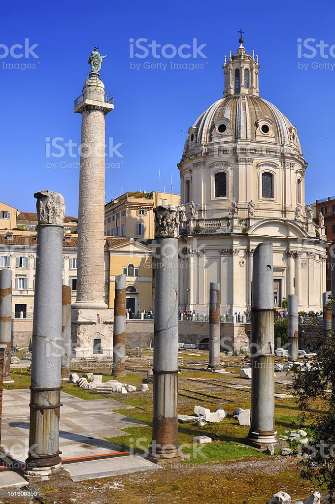 Trajan's Column (Colonna Traiana) stock photo
