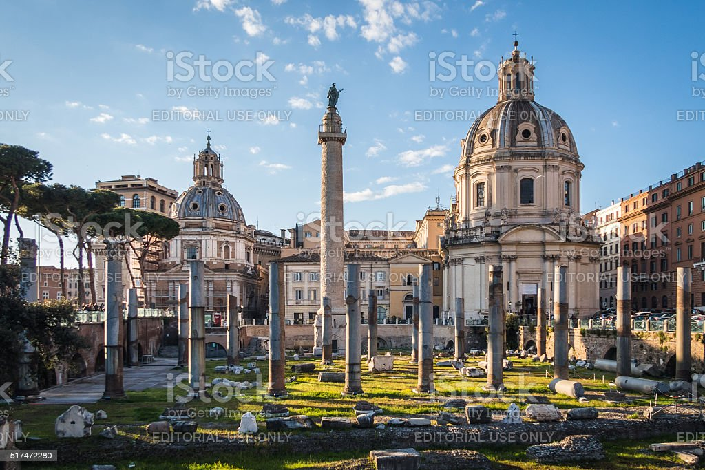 Trajan's Column. Scenes from Rome at Easter stock photo