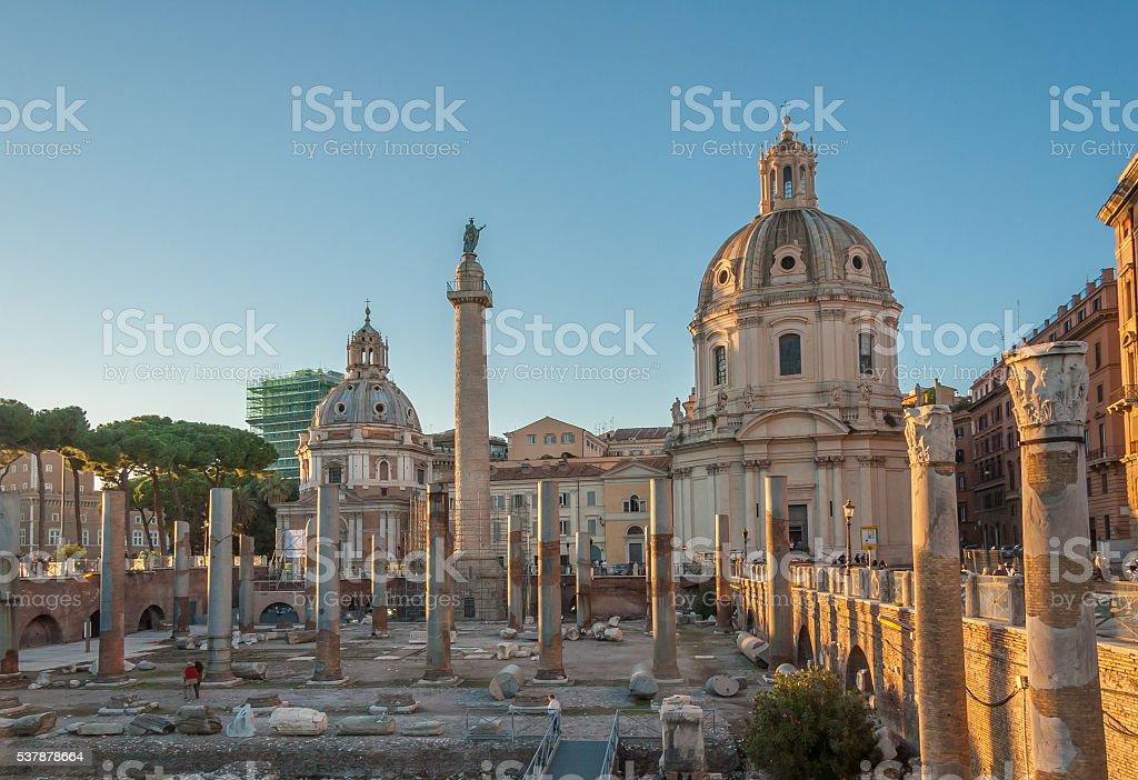 Trajan's Forum and Church of Santa Maria di Loreto, Rome stock photo
