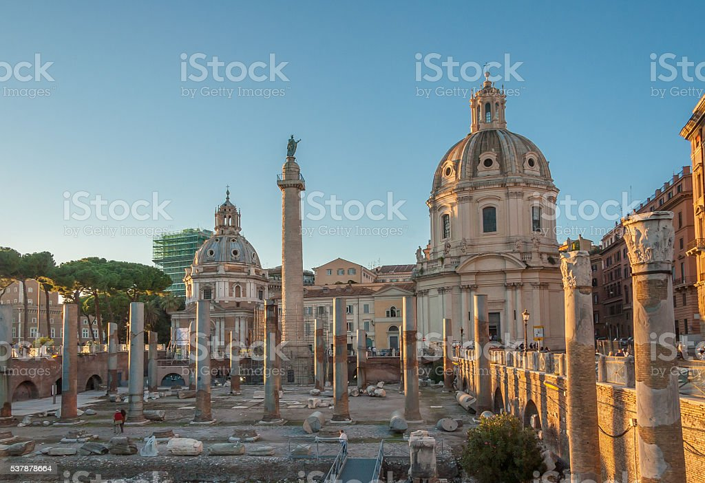 Trajan's Forum and Church of Santa Maria di Loreto, Rome stock photo