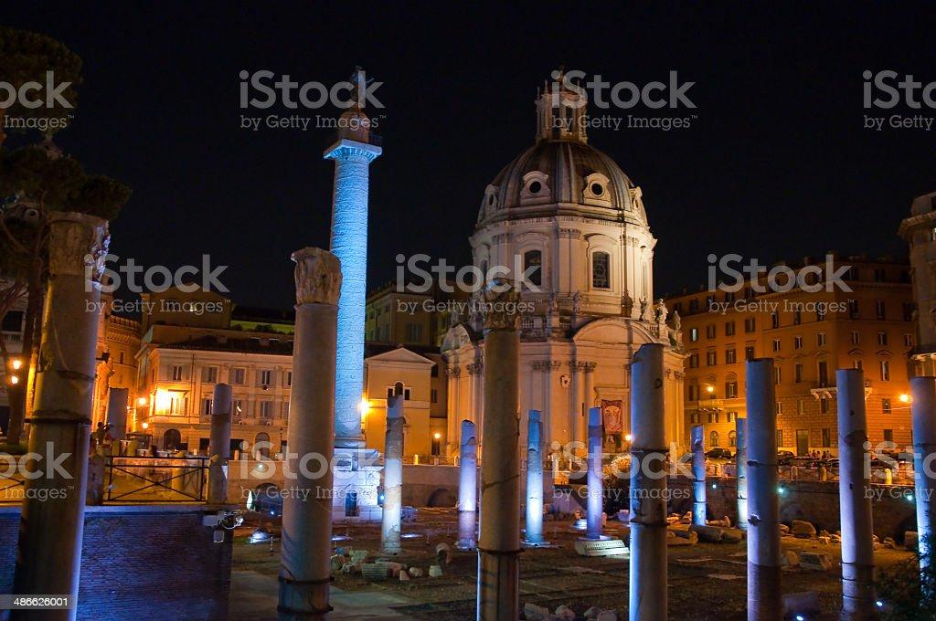 Trajan's Forum at Night. Rome, Italy. stock photo