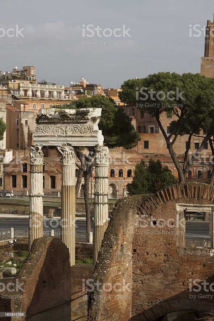Trajan's Forum in Ancient Rome, Italy royalty-free stock photo