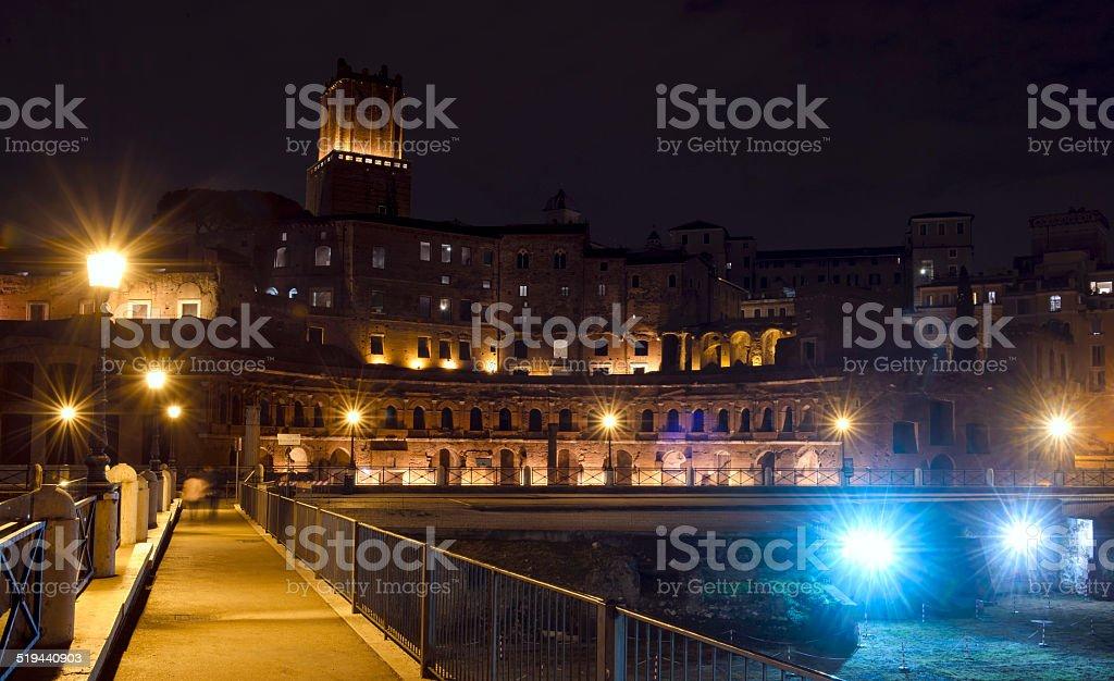 Trajan's Forum in Rome by night stock photo