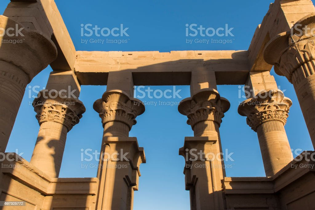 Trajan´s kiosk at the Temple of Philae, Aswan, Egypt. stock photo