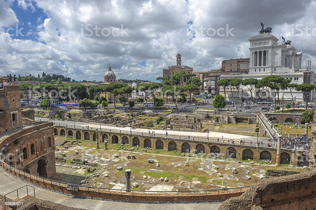 Trajan'€™s market and Roman forums in Rome, Italy stock photo