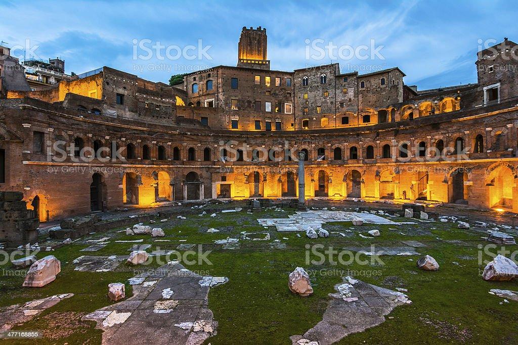 Trajan's Market, in the night stock photo