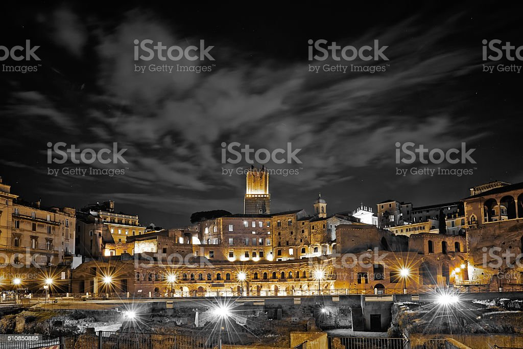 Trajan's Market, part of the Forum, by night, Rome stock photo
