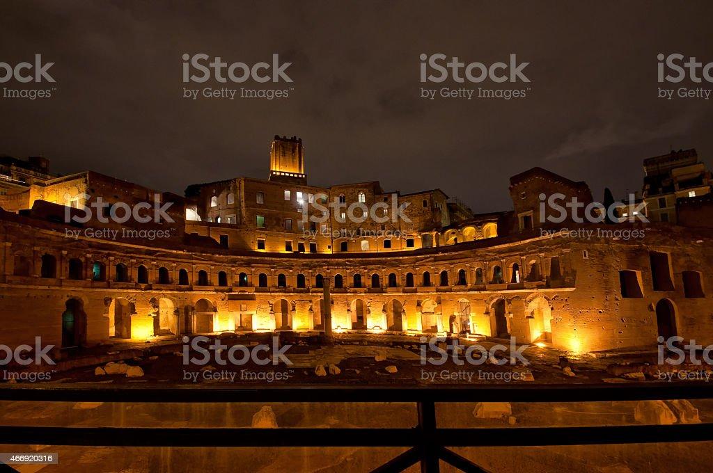 Trajan's Market, part of the Trajan's Forum, by night, Rome, Italy stock photo