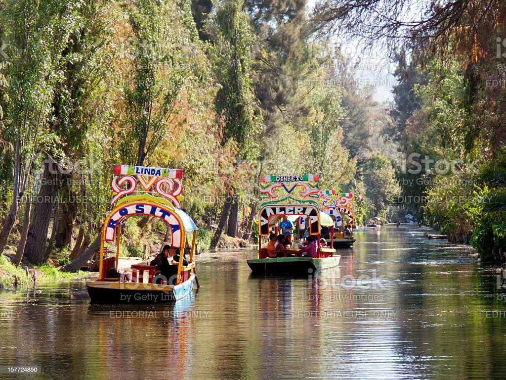 Trajinera boats in Xochimilco, Mexico City royalty-free stock photo