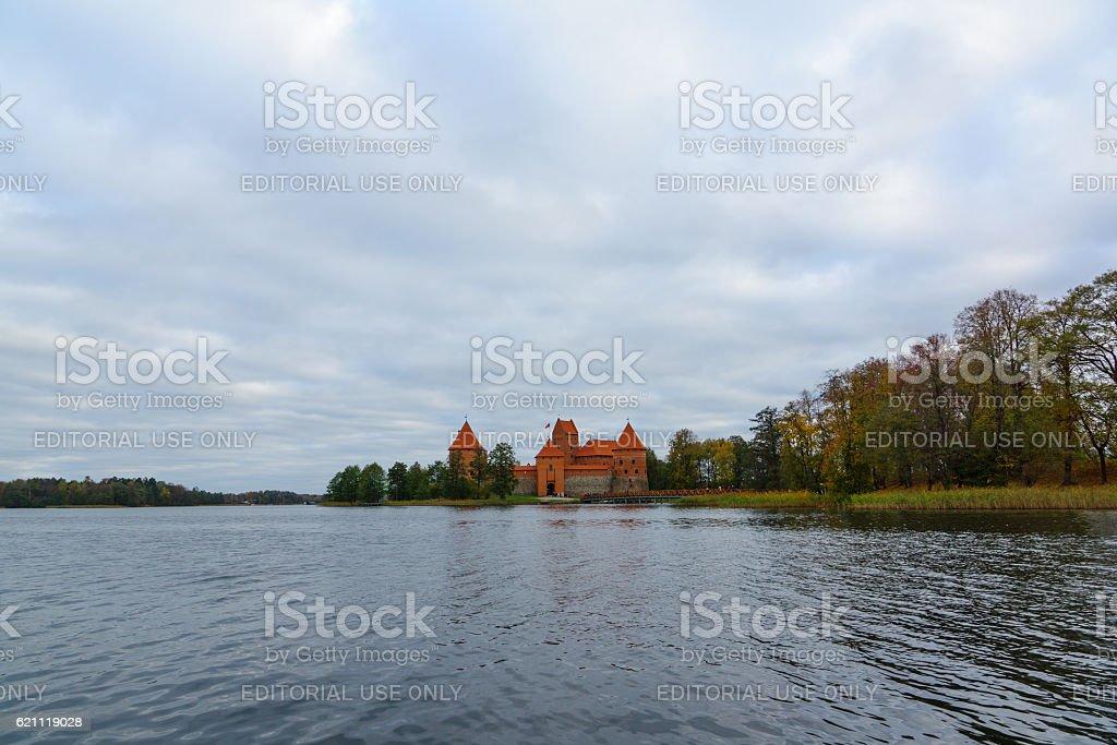 Trakai castle in the lake stock photo