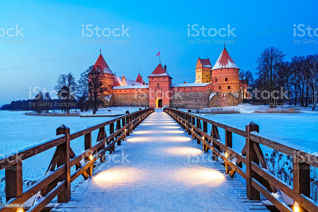 Trakai - historic city and lake resort in Lithuania stock photo