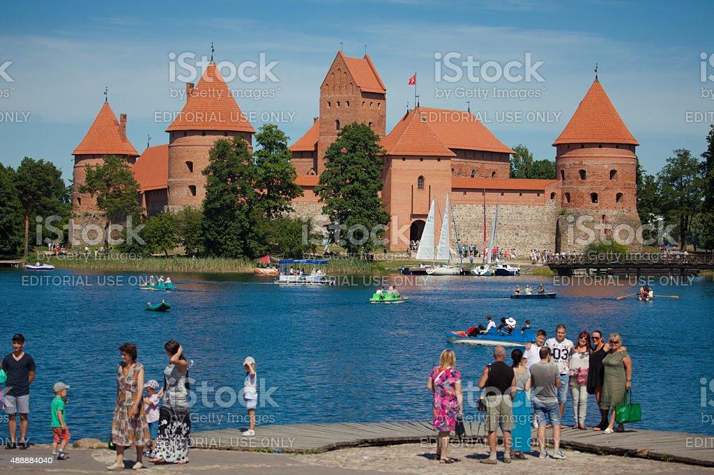 Trakai island castle on the lake Galve stock photo