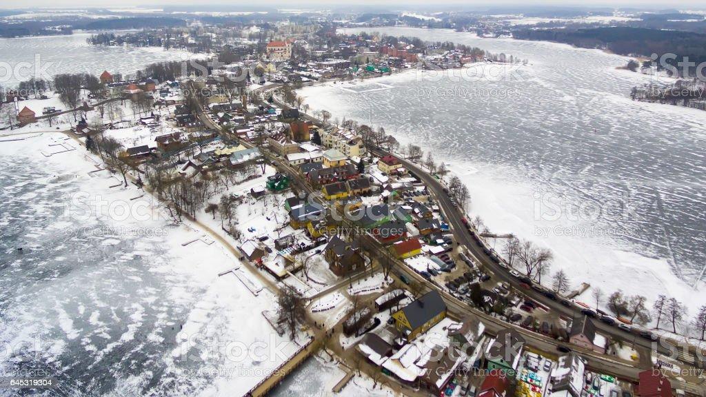 Trakai, Lithuania: aerial winter UAV top view, flat lay of gothic Island Castle stock photo