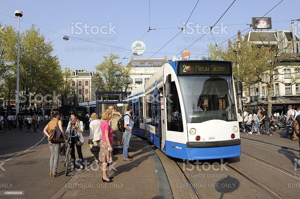 Tram and people at Leidseplein in Amsterdam royalty-free stock photo
