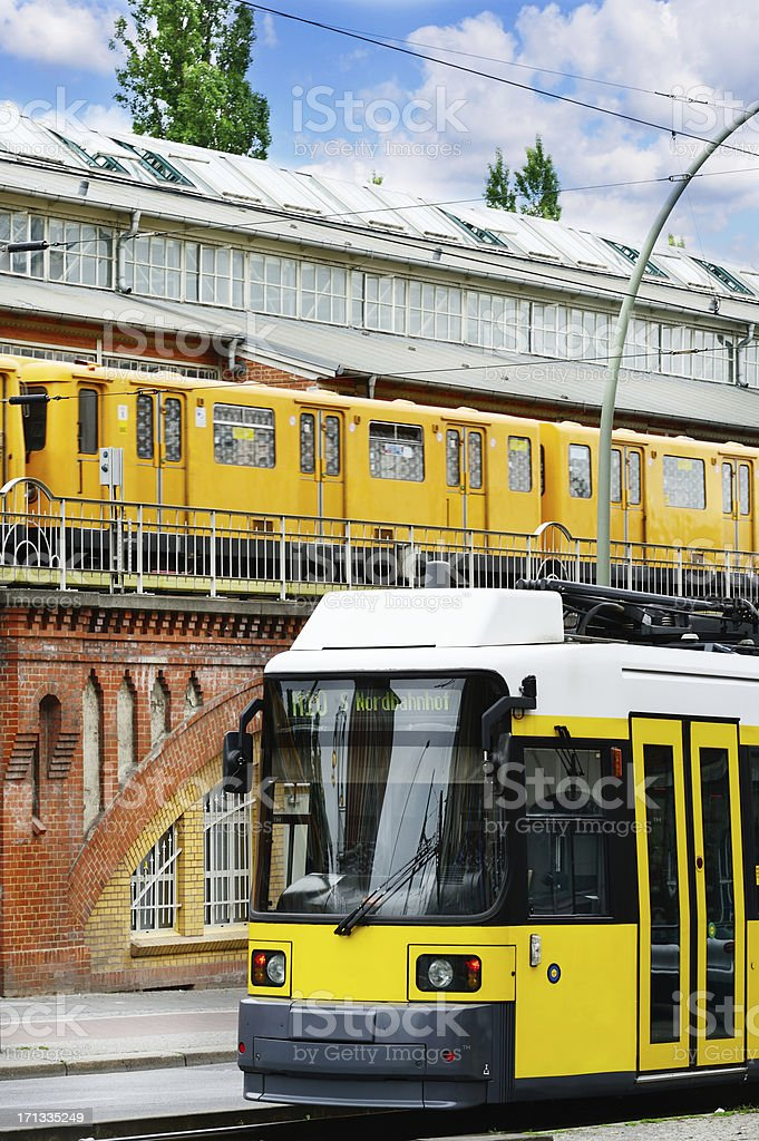 Tram and subway in Berlin stock photo