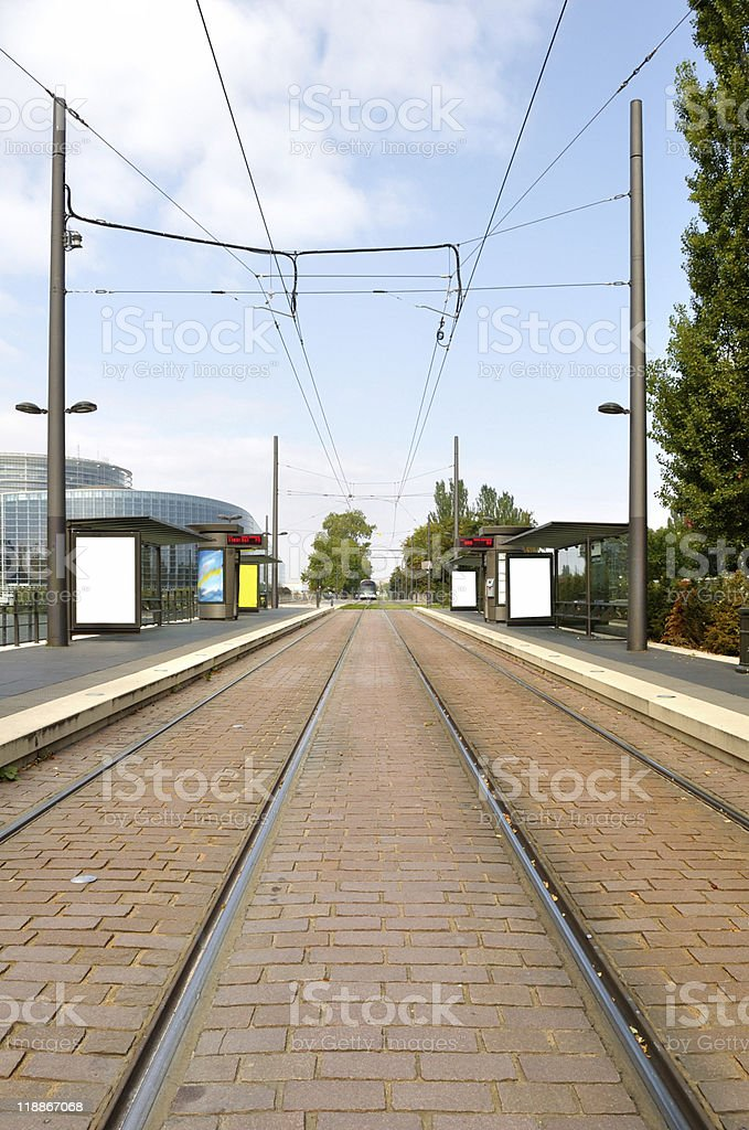 Tram arriving in station royalty-free stock photo