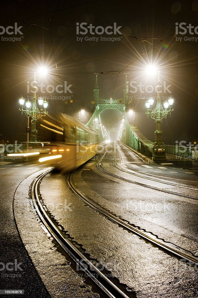 Tram at night royalty-free stock photo