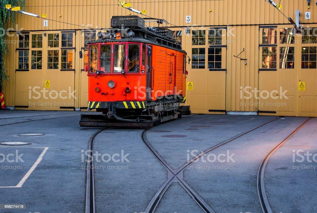Tram at railroad station, Stockholm, Sweden stock photo
