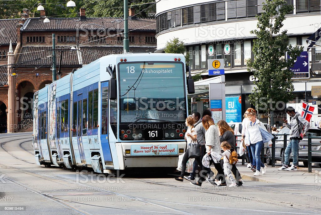Tram at stop stock photo