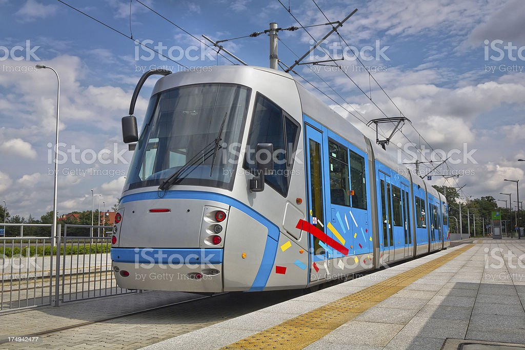 tram at the station stock photo