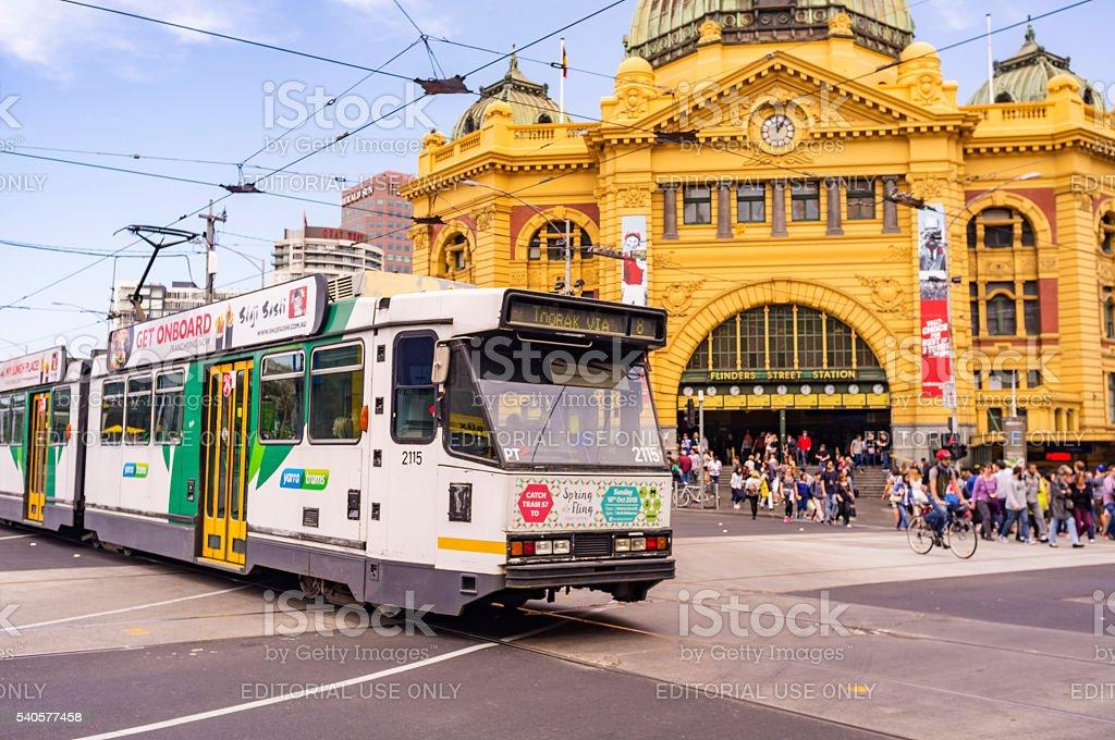 Tram by Flinders Street Railway Station Melbourne Australia stock photo