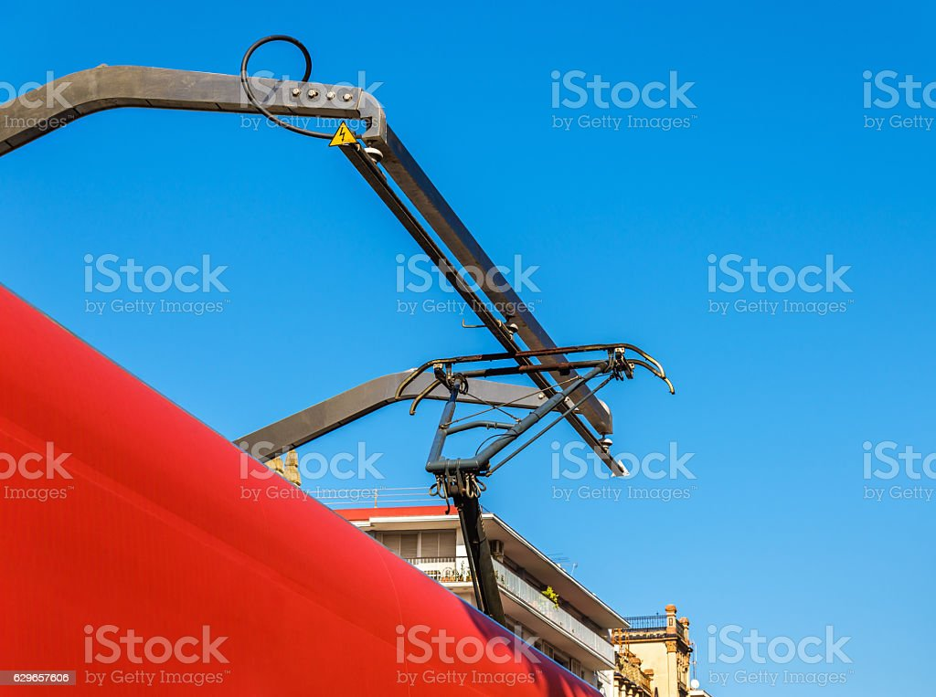 Tram charging itself on a station in Sevilla, Spain stock photo
