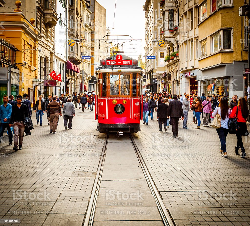 Tram Drives Along Shoppers Crowding ?stiklal Avenue Istanbul stock photo