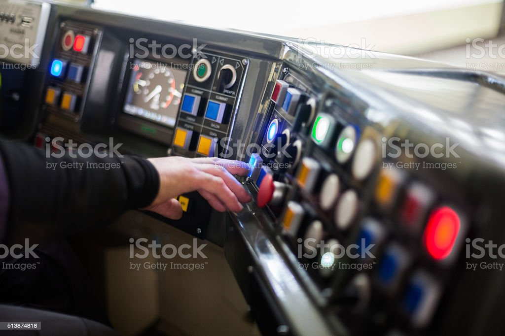 Tram driving buttons stock photo