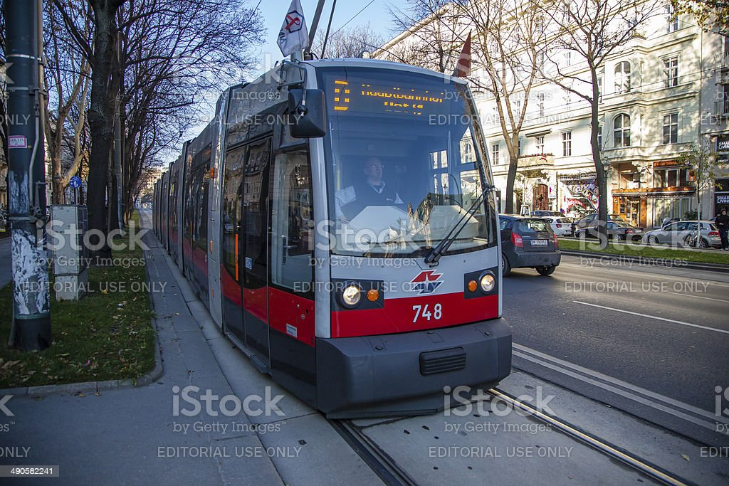 Tram Early Morning in Vienna stock photo