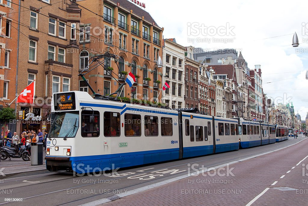Tram heading to Amsterdam central station stock photo