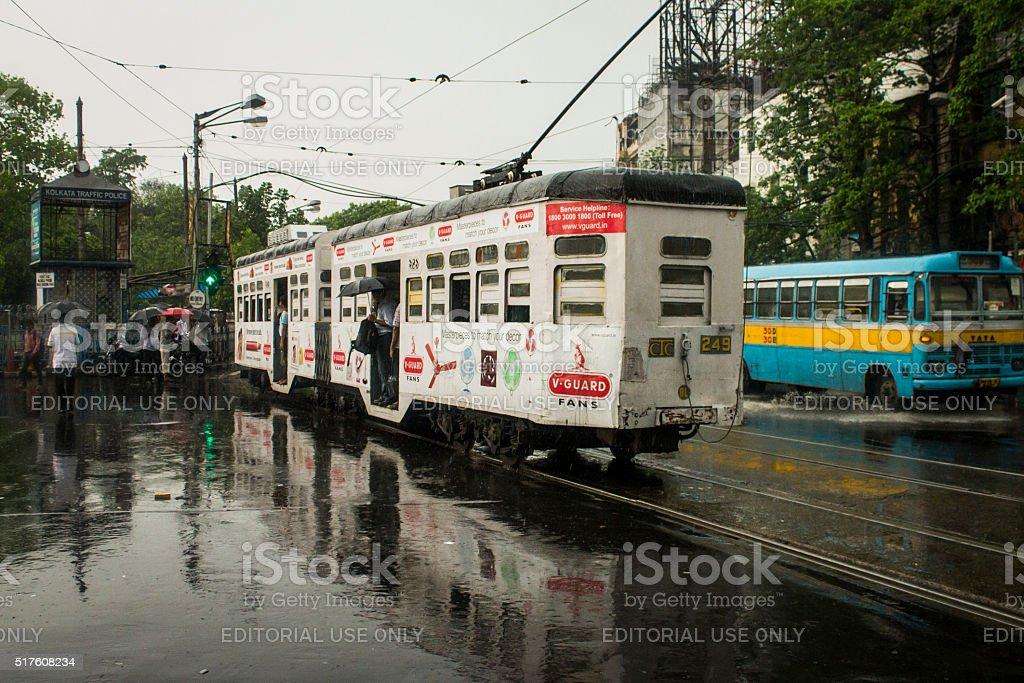 Tram in a rainy Kolkata. stock photo