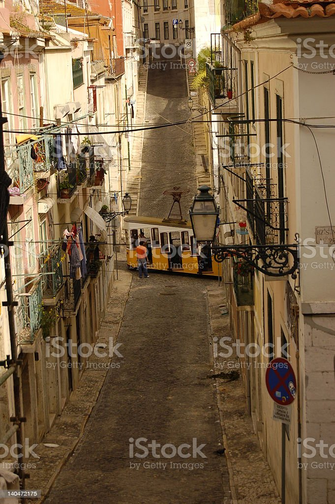 Tram in a street of lisbon royalty-free stock photo
