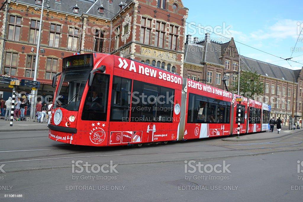 Tram in Amsterdam centre stock photo