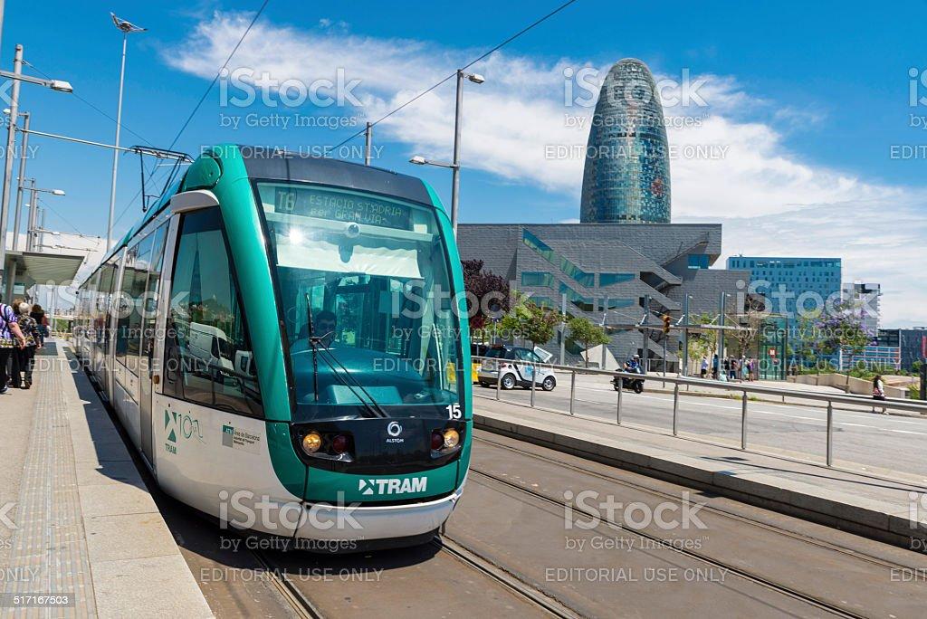 Tram in Barcelona stock photo