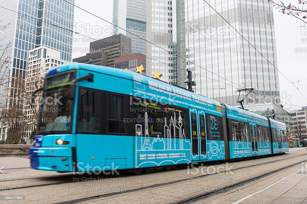 Tram in Frankfurt stock photo