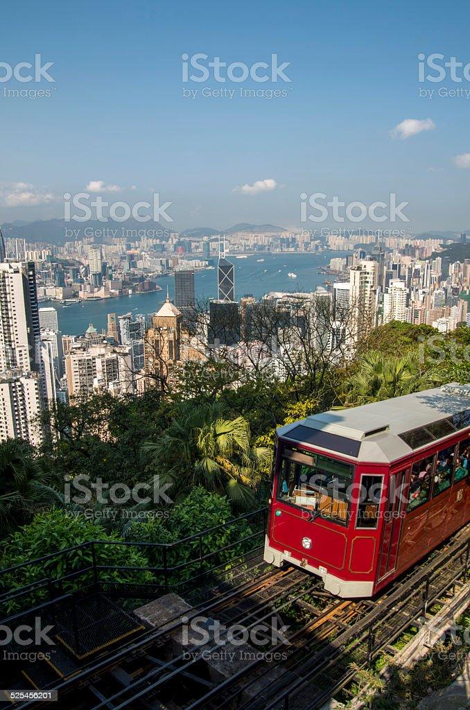 Tram in Hong Kong stock photo