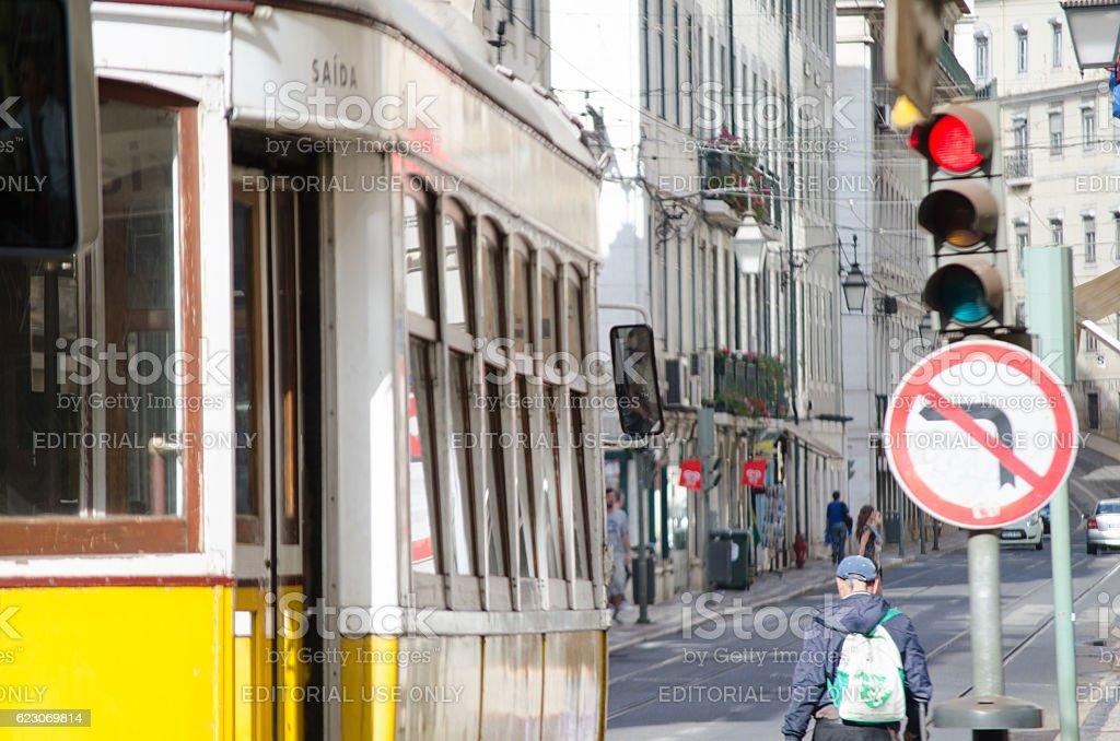 Tram in Lisbon stock photo