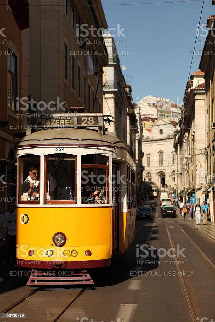 Tram in Lisbon, Portugal royalty-free stock photo