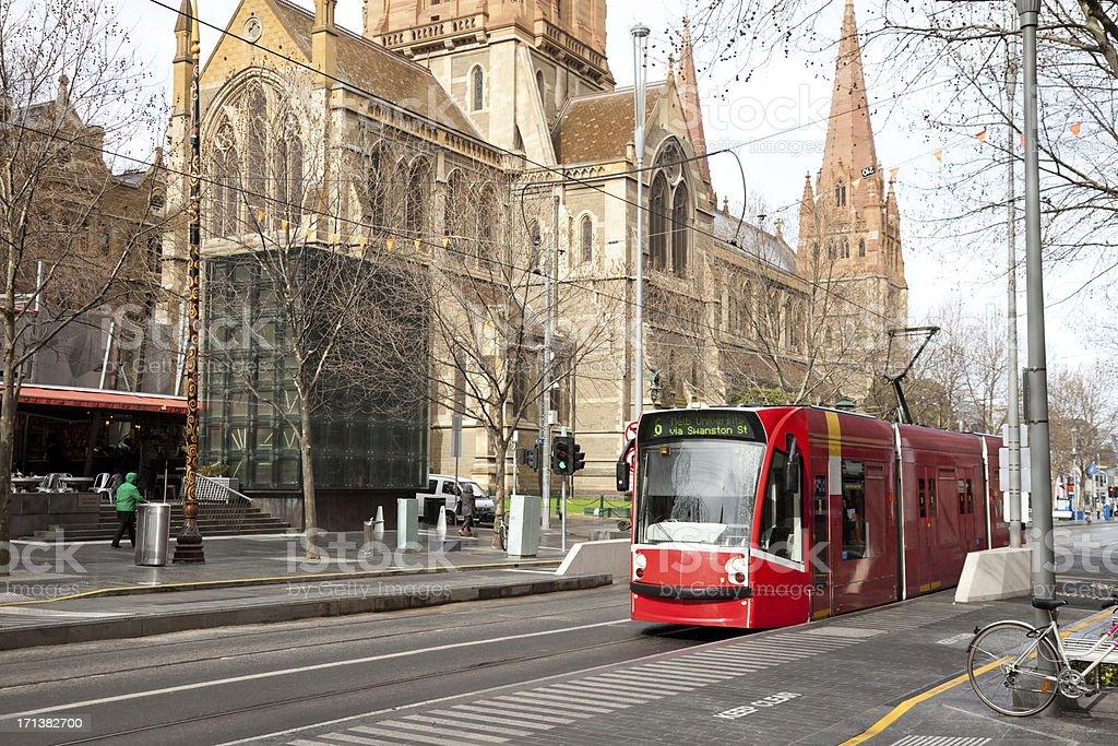 Tram in Melbourne Street stock photo