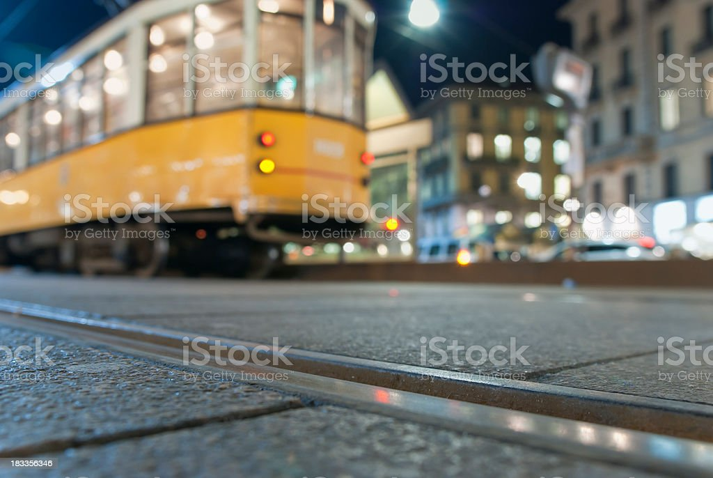 Tram In Milan City By Night stock photo