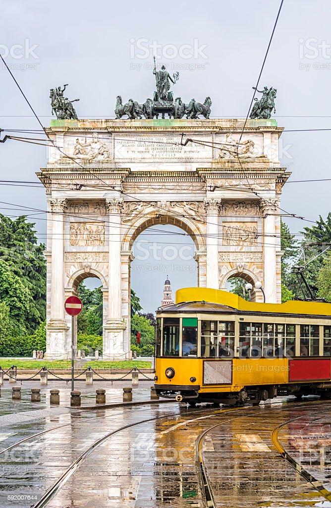 Tram in Milan stock photo