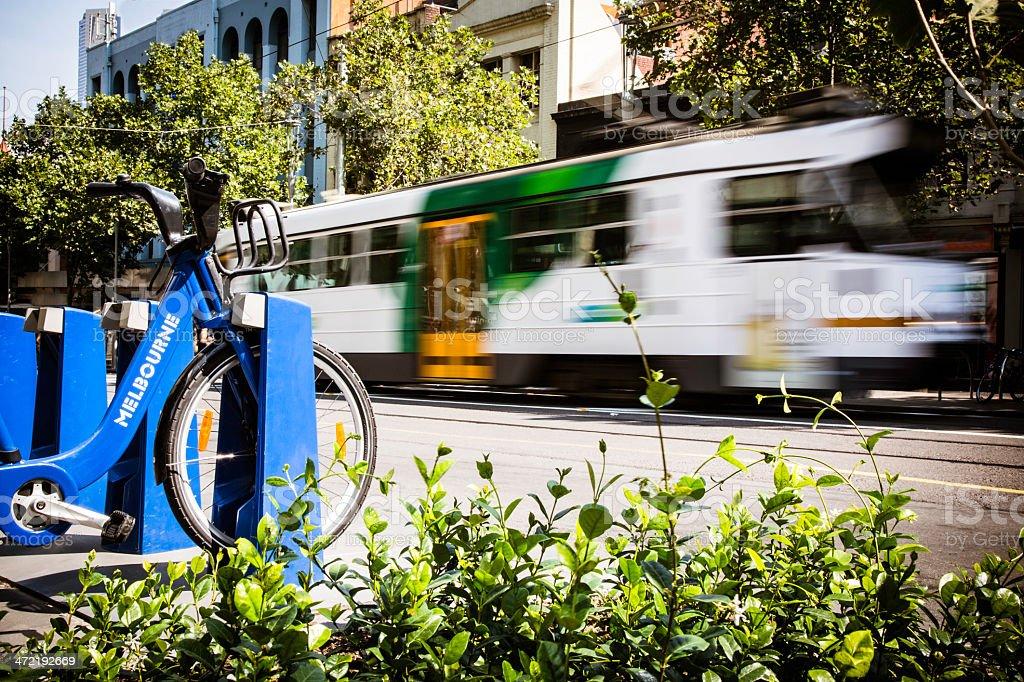 Tram in motion, City of Melbourne, Australia stock photo